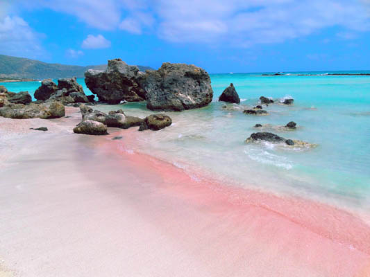 Pink sand at Elafonissi Beach in Crete, Greece