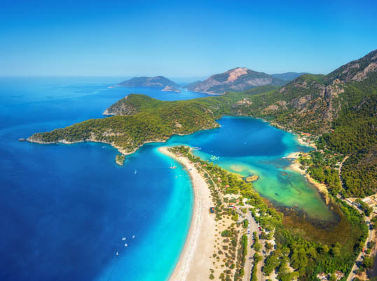 Aerial view of Olu Deniz blue lagoon in Turkey