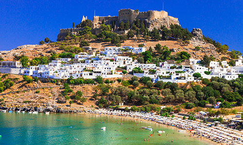 Lindos Village and Acropolis in Rhodes, Greece