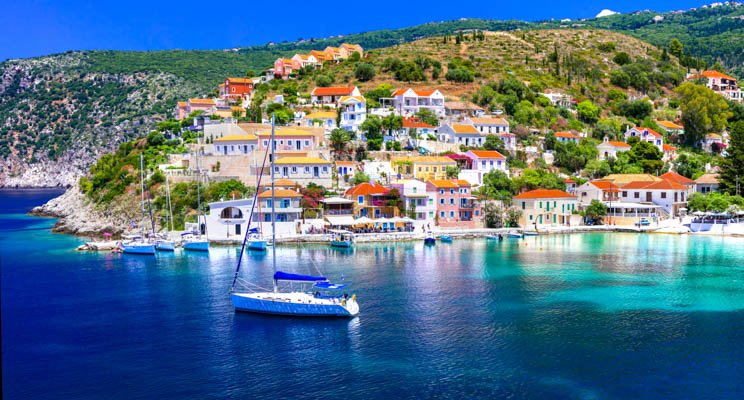 Boats on the water in Kefalonia, Greek Islands