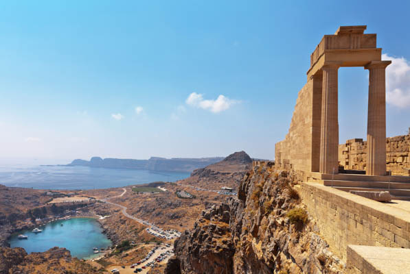 Lindos Acropolis in Rhodes, Greece