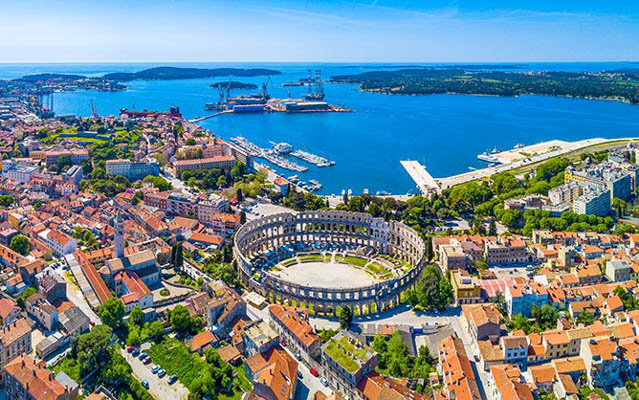 Aerial view of Pula's amphitheatre in Pula, Istria