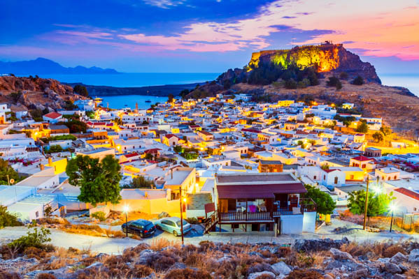 Sunset views of Lindos and the Acropolis in Rhodes, Greek Islands